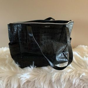 Relic Black Faux leather snakeskin shoulder bag